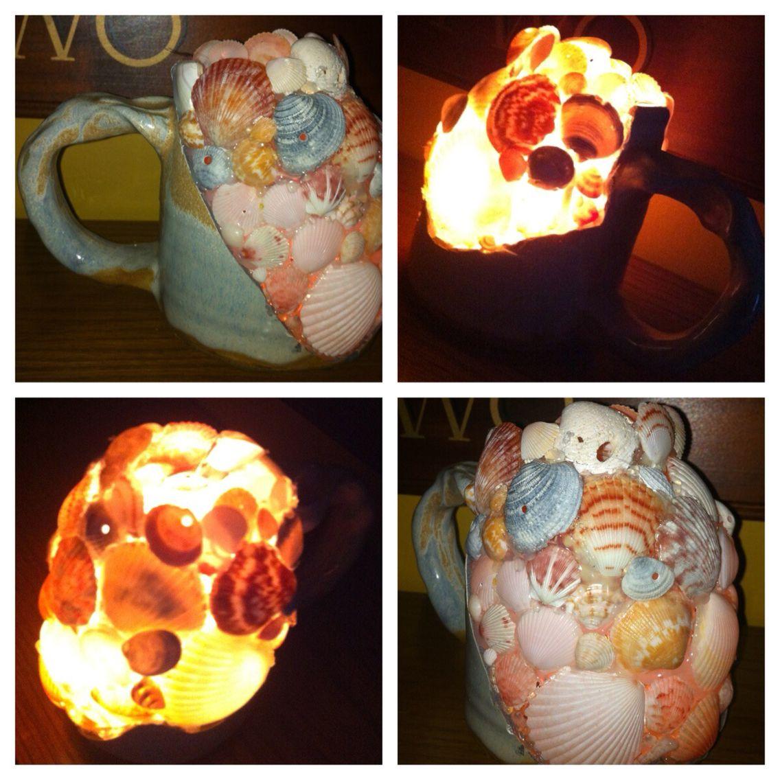 Diy cracked mug transformed into a shell mug light. Sea