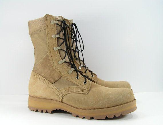 combat boots mens 12 W desert sand military work grunge vintage ...