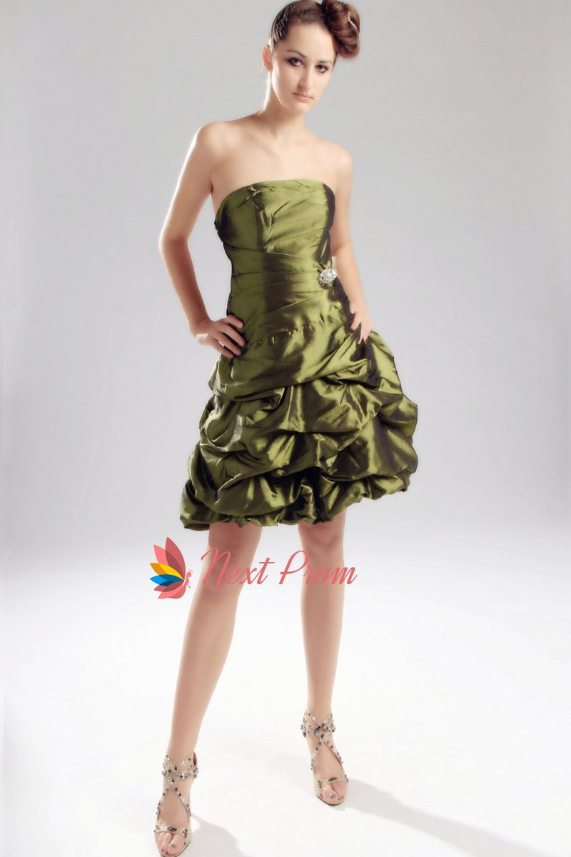 Olive Green Short Bridesmaid Dress, Strapless Olive Green Prom ...