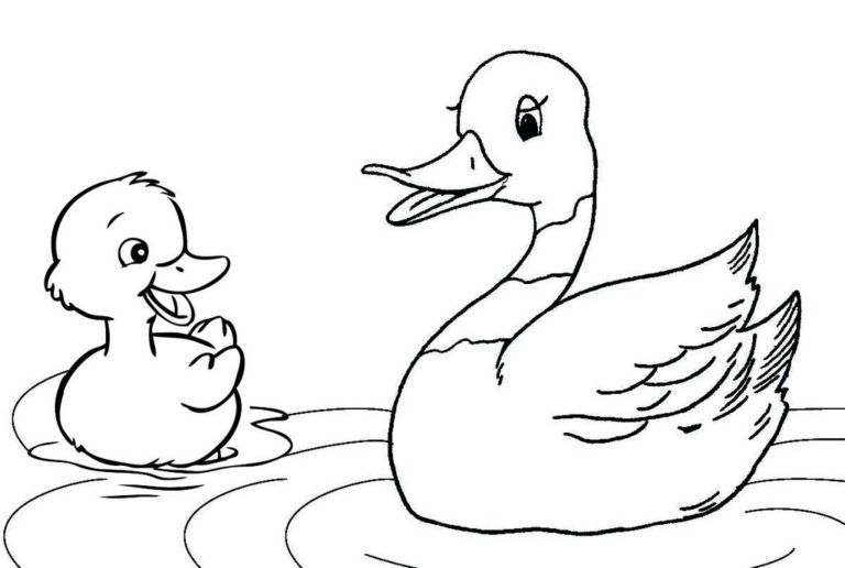 Happy Mother Duck And Duckling Coloring Page Animal Coloring Pages Duck And Ducklings Coloring Pages