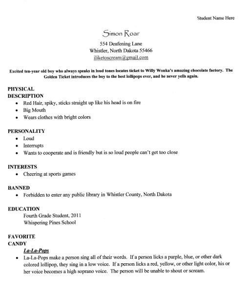character resume Fifth Grade Pinterest Novels, Writing skills - resume library
