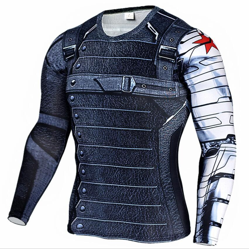 New Marvel Superhero Winter Soldier Bucky 3D Men T Shirt Fitness ...