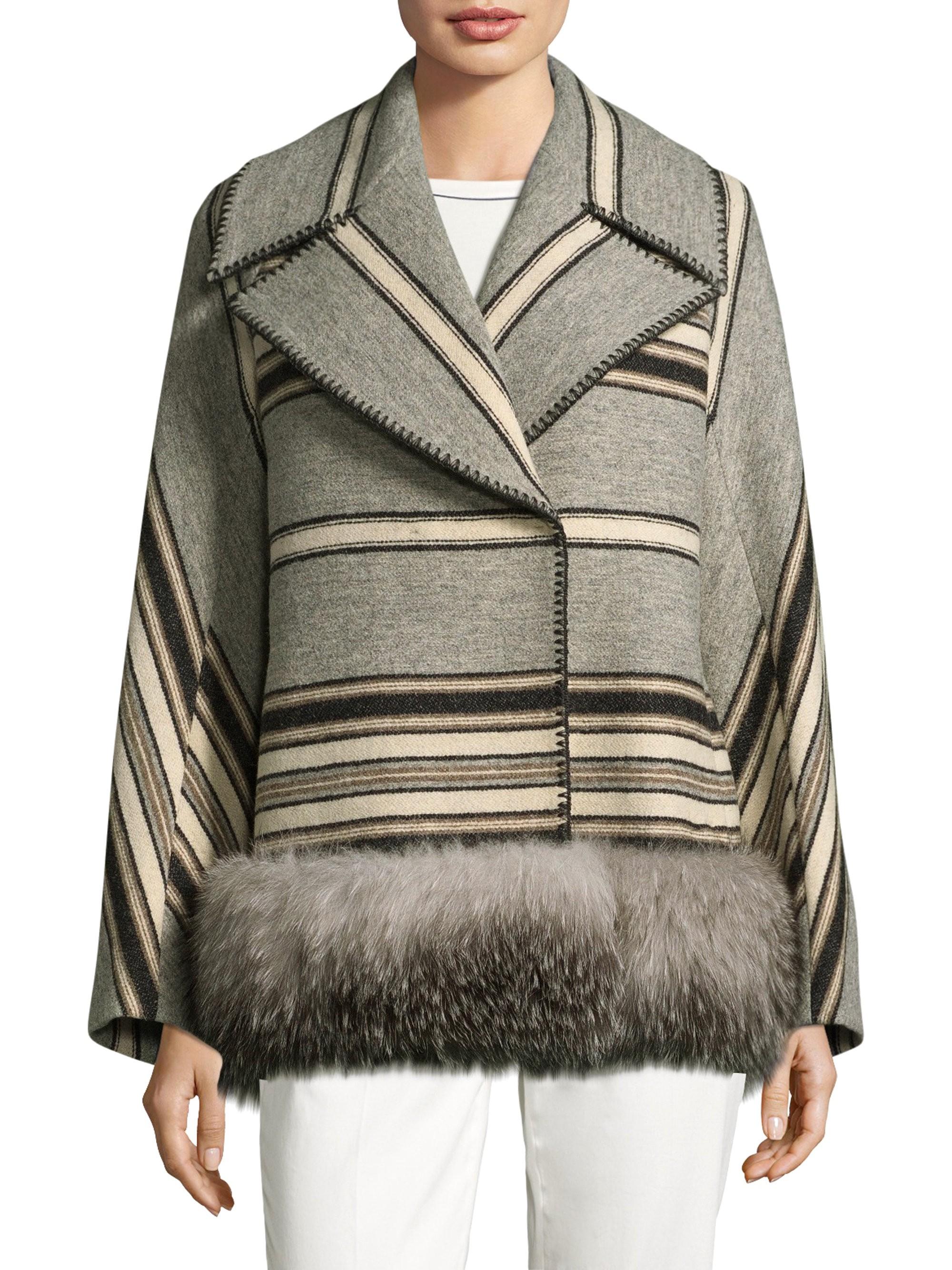 Weekend Max Mara Striped Fox Fur Trim Coat - Light Grey 12 ba4b282a1b4