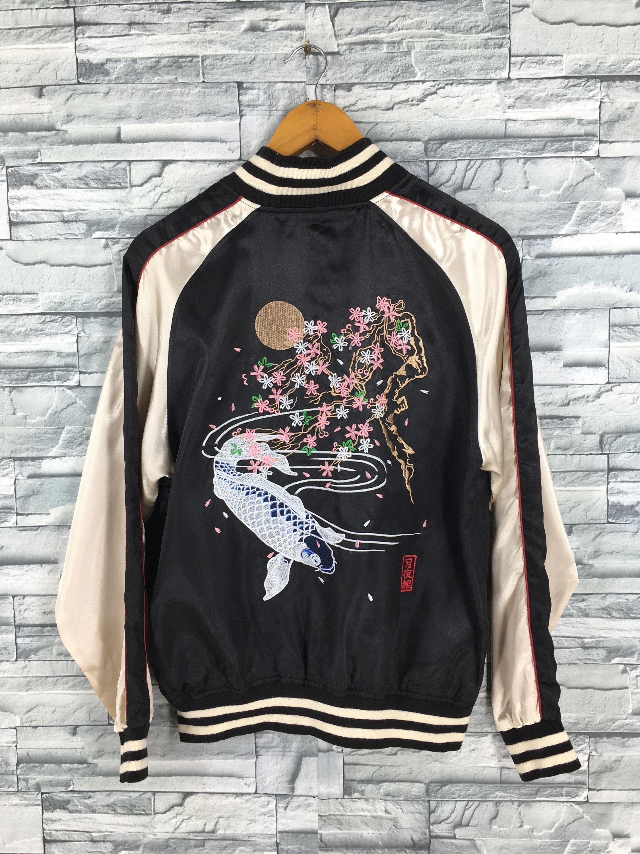 Vintage 80/'s Black Flower Print Long Sleeved Jacket