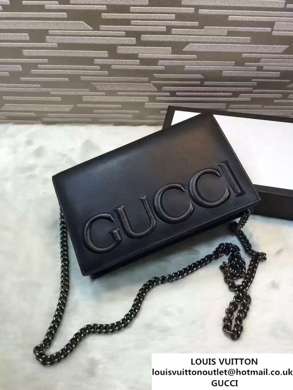 955c97f4db16 Gucci XL Leather Mini Chain Shoulder Bag 421850 Black 2016 | Purses ...