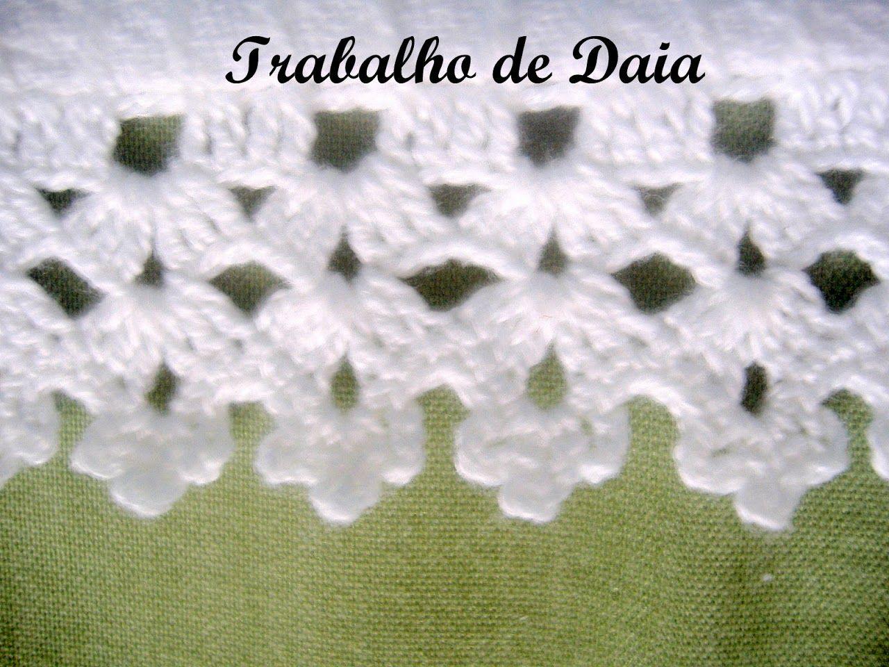 Foto: Trabalho nº 33 - Pano de prato com bico de crochê. | Crafts ...