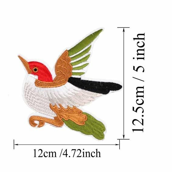 1 Pair 4.7x5 Bird Patch (Iron/Sew On) Embroidery Applique Patch Badge Craft Design Repair Clothing