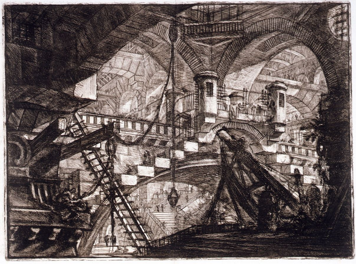 "Another of Giovanni Battista Piranesi's ""Carceri"" (Prisons) series. #architecture #prints"