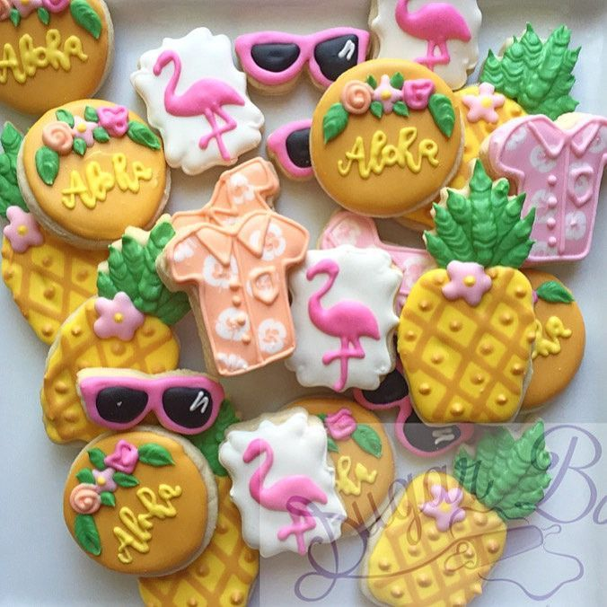 2 Dozen Mini Hawaii Theme Decorated Cookies Set