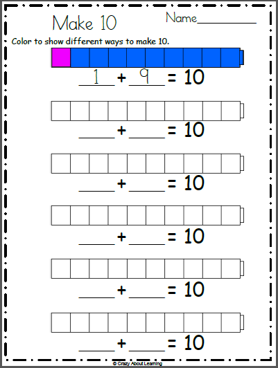 free make  by coloring worksheet  kindergarten math  pinterest  free math addition worksheet color the connecting cubes to show how to make   multiple ways for example color  red  blue then color  red    blue