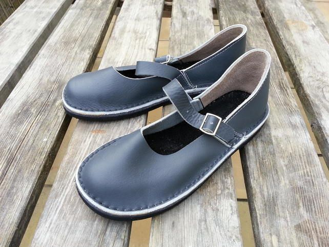 811239860f54 Mary Jane Handmade Shoes Grey Leather UK Sizes 5 and 6 Ready To Go ...