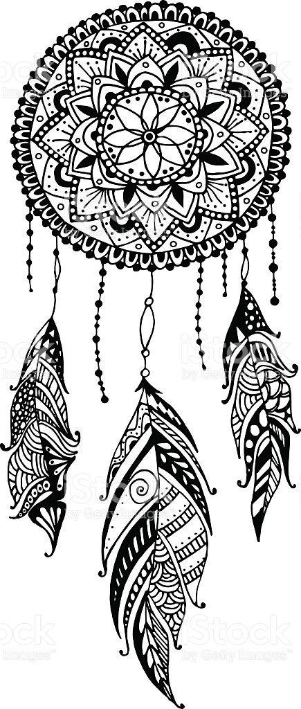 Mano disegno mandala acchiappasogni con piume etnico for Acchiappasogni disegno