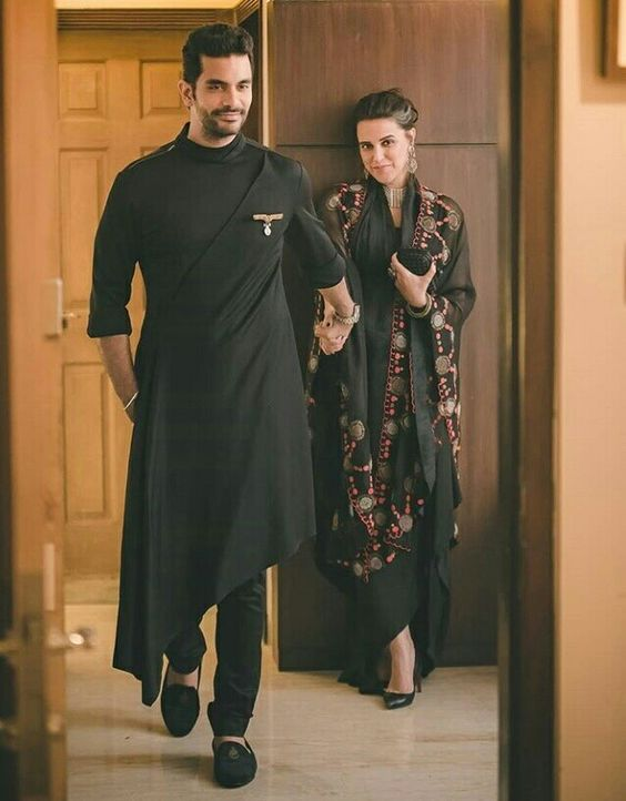 Angad Bedi In Black Desgner Kurta | Wedding kurta for men