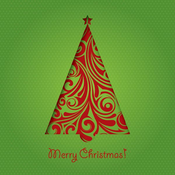 Green Christmas Card Vector Graphic Cut Out FREE
