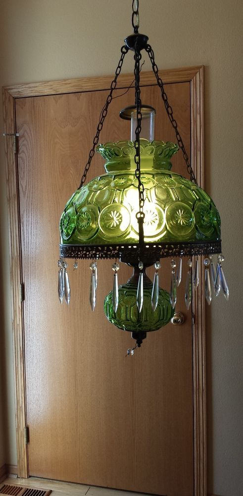 L G Smith Fenton Green Glass Moon And Stars Hanging Lamp