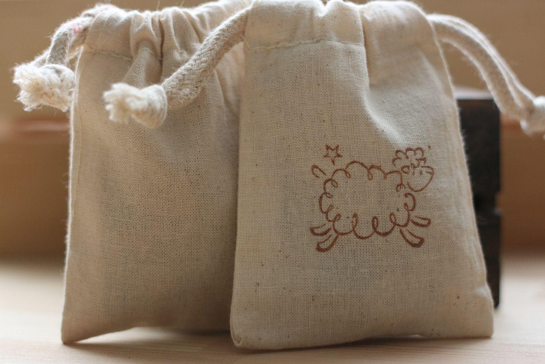Cotton Muslin Favor Gift Bag Fluffy Lamb X10 Muslin