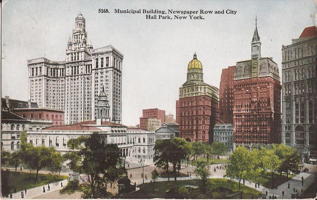 vintage postcard new york city municipal building newspaper row city hall park 1926 in 2020 new york city hall city hall building pinterest