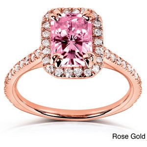 Annello 14k or Rose Gold Radiant-cut Moissanite and 1/4ct TDW Diamond Engagement Ring