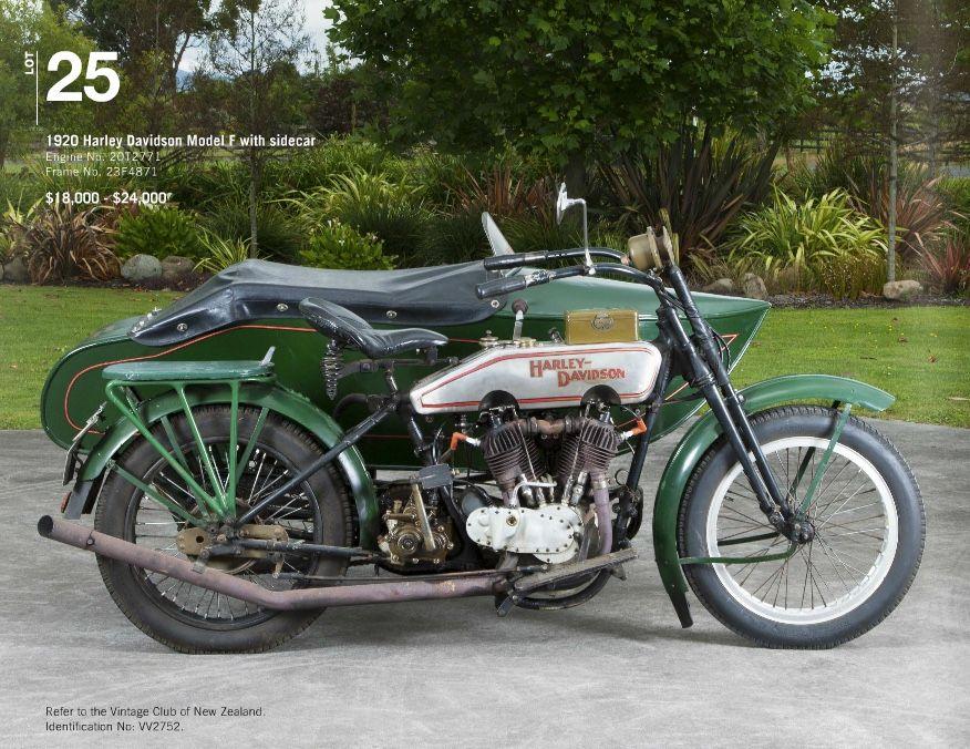 Harley Davidson model F with sidecar 1929  mossgreen-webbs