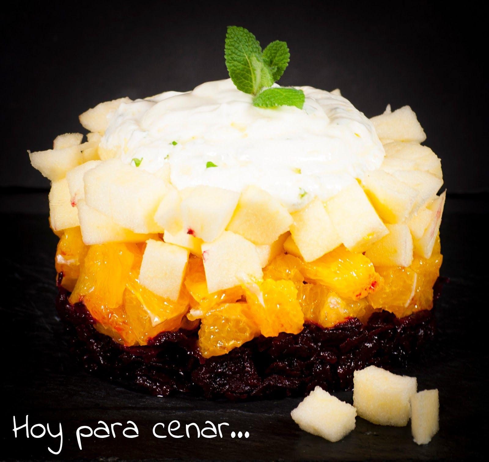 Ensalada de remolacha, naranja y manzana con yogur y menta...