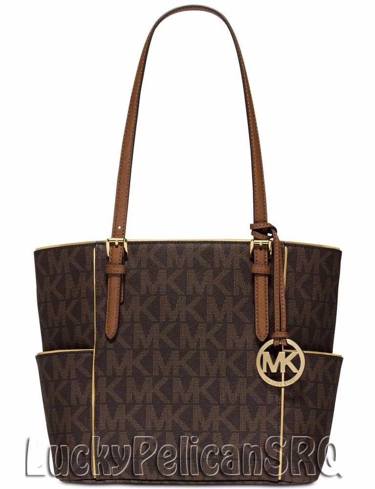 Michael Kors Medium East West Mk Signature Tote Bag Handbag Brown Nwt Michaelkors Totespers