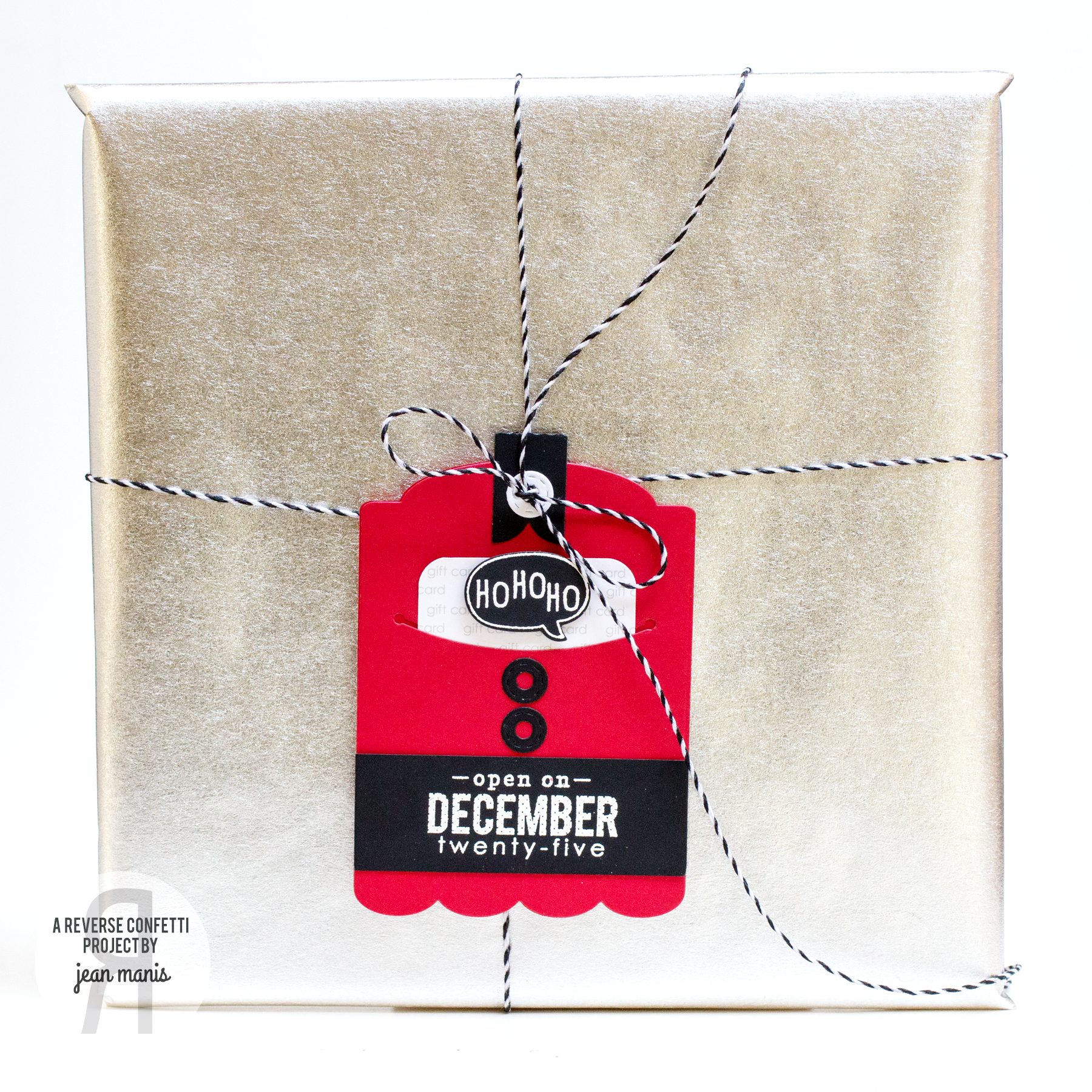 Christmas Tag By Jean Manis. Reverse Confetti stamp set: Tinsel 'n Trim. Confetti Cuts: Hang Ups and Gift Card Holder Tag. Holiday Tags. Santa Claus.