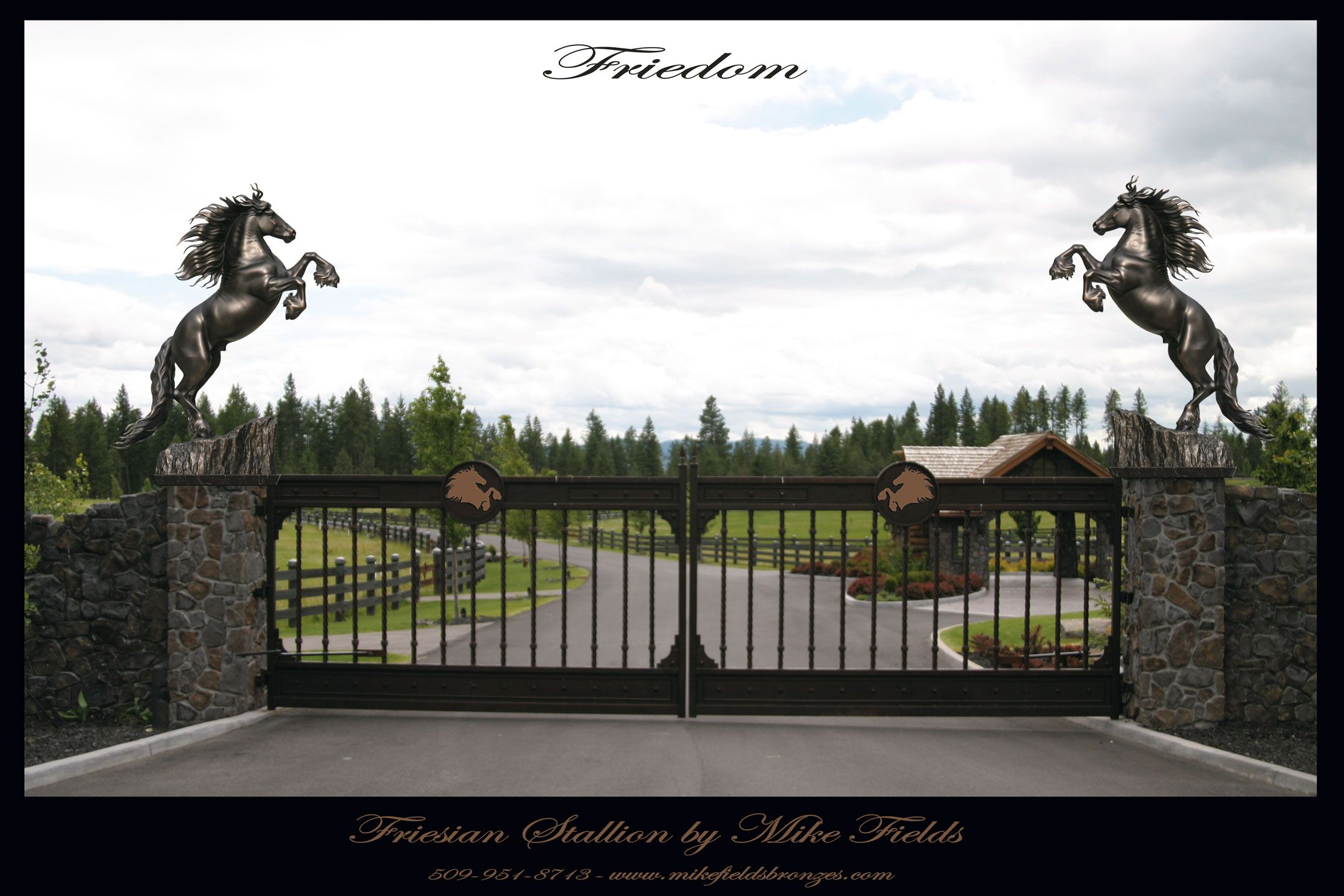 Friesian Horse Estate Gate Entry