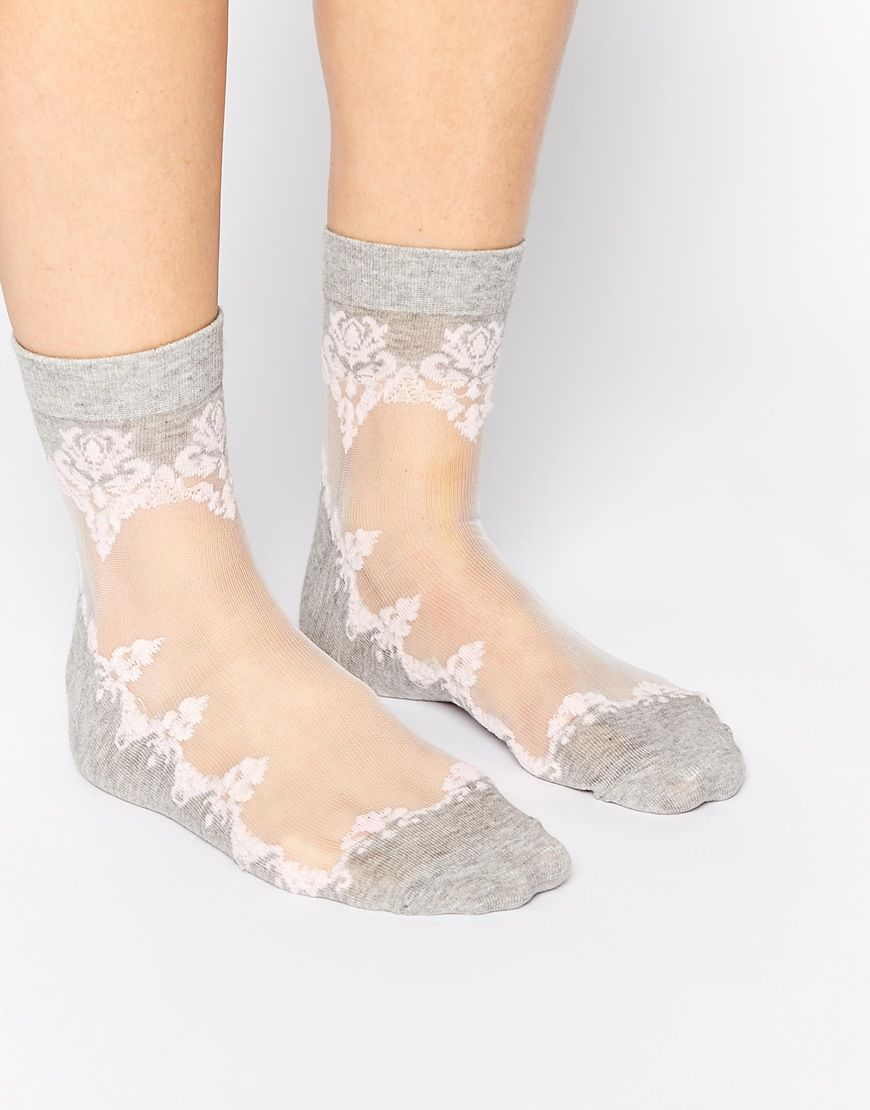 Image 1 ofASOS Floral Sheer socks