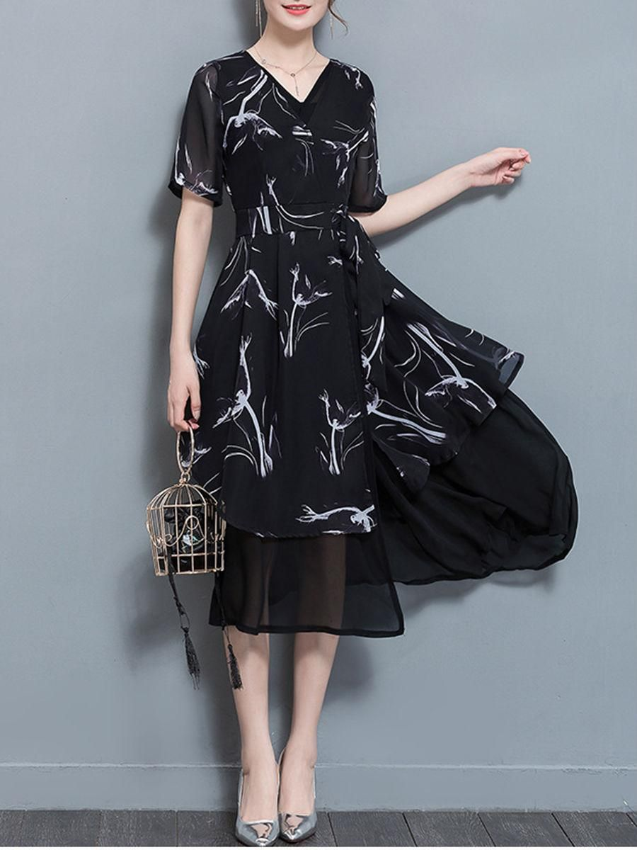 Fashionmia fashionmia vneck printed double layer chiffon maxi