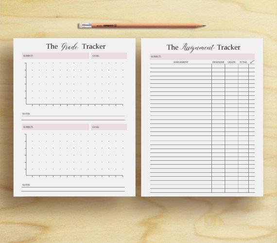 Homework Planner, Assignment planner, grade tracker, student - student agenda template