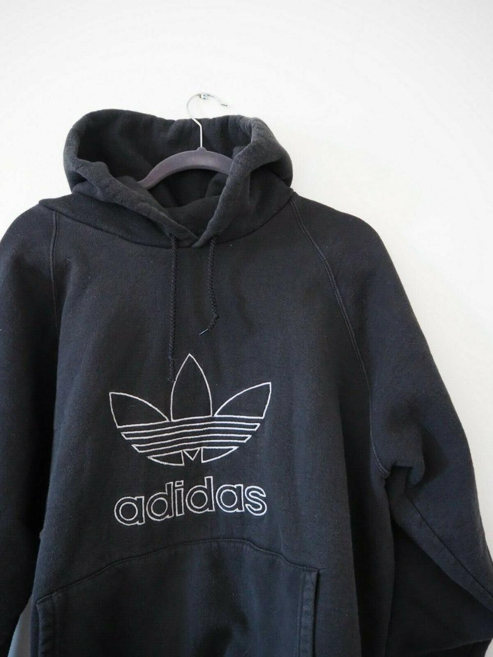 Mens Vintage Adidas Black Hoodie Sportswear Jumper Sweatshirt L Embroidered Logo Ebay Vintage Style Cozy Street Styl Vintage Hoodies Vintage Adidas Hoodies [ 1333 x 1000 Pixel ]