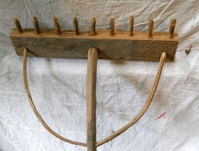 Old Handmade Wooden Rake Farm Item