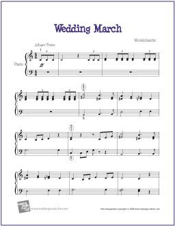Wedding March Mendelssohn Sheet Music For Easy Piano Http