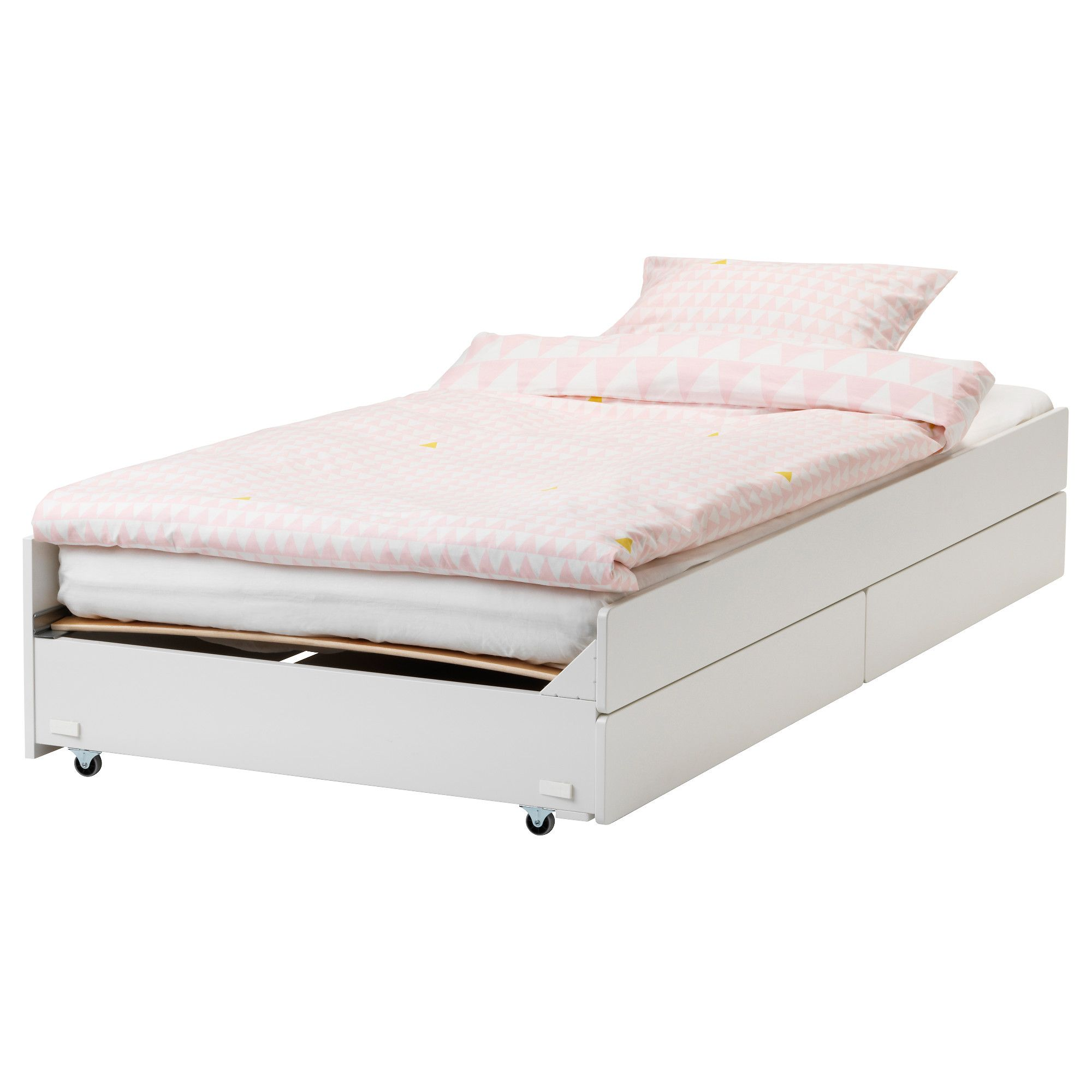 Ikea Slakt Pull Out Bed With Storage White Bed Storage Pull