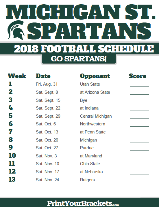 2019 Msu Football Schedule Pinterest