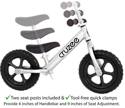 Cruzee Ultralite Balance Bike In Silver And Black White From