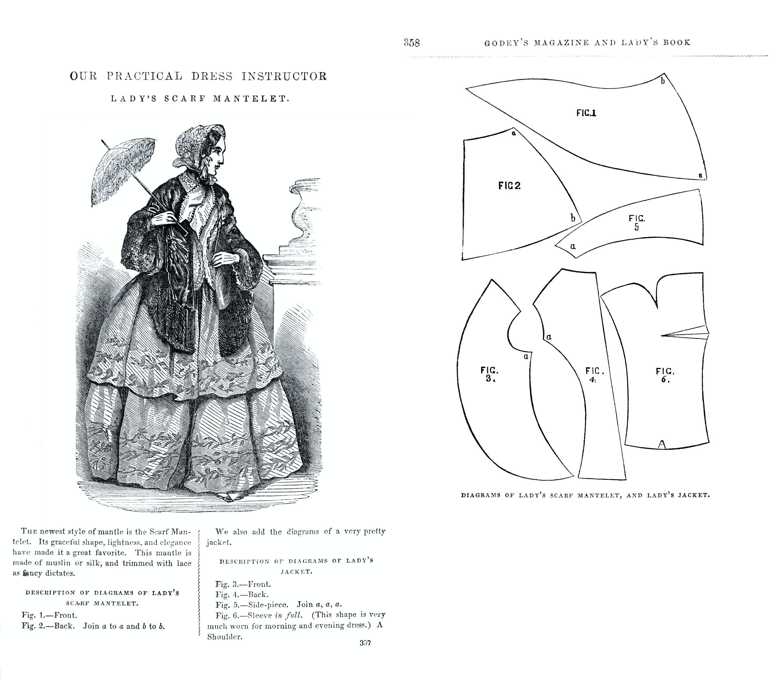 1854 Lady's Scarf Mantelet sewing pattern from Godey's