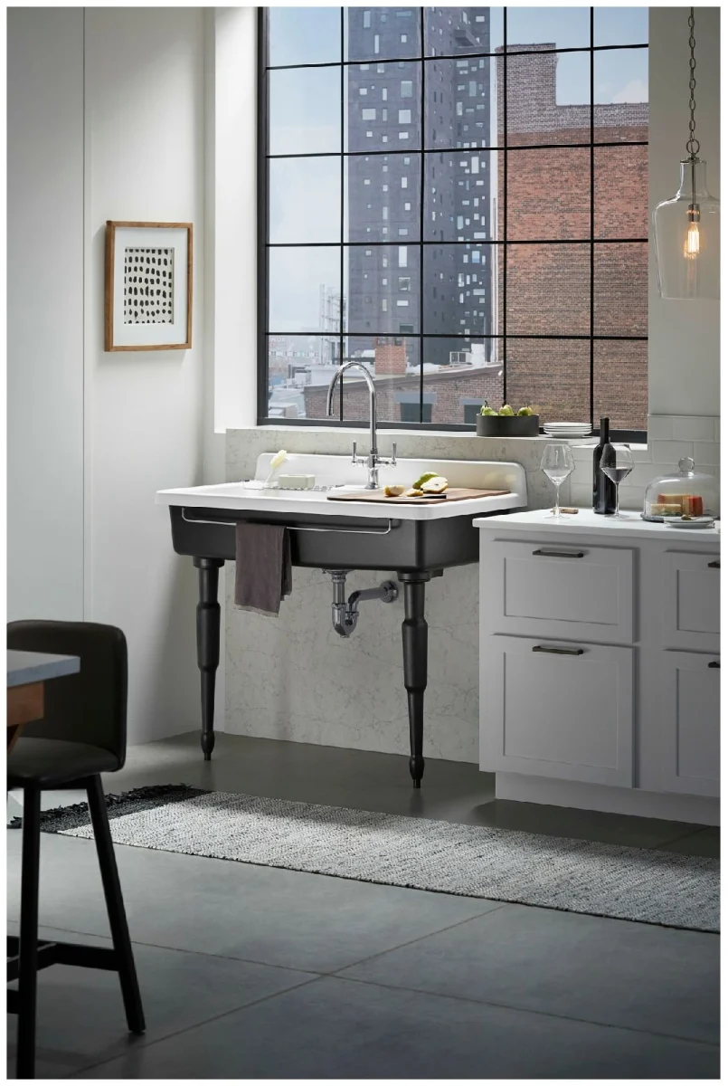 Kohler K 21103 1hp5 0 White Farmstead 45 Drop In Or Wall Mounted Single Basin Cast Iron Kitchen Sink Freestanding Kitchen Free Standing Kitchen Sink Cast Iron Kitchen Sinks