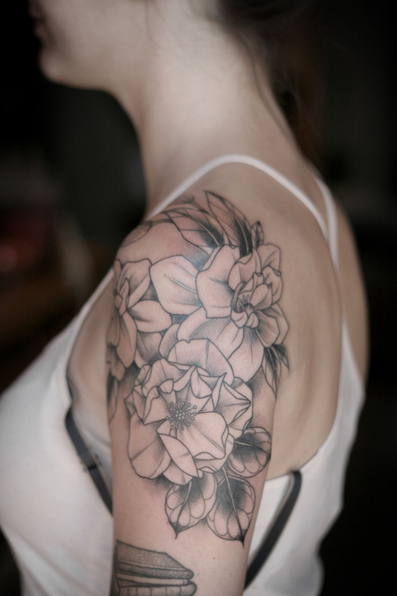 Rose and gardenias for Brianne. Color in January! Thanks