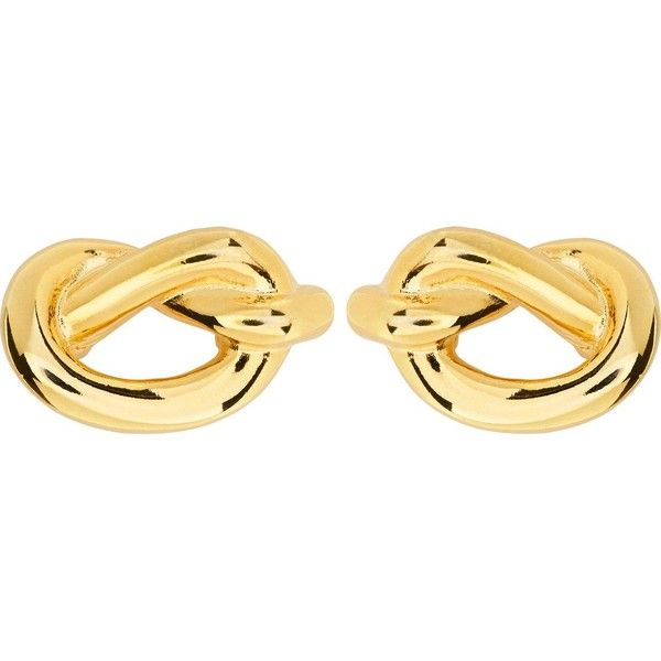 Kenneth Jay Lane Knot Clip Earrings ($49) ❤ liked on Polyvore featuring jewelry, earrings, gold, clip back earrings, retro earrings, nickel free clip on earrings, nickel free earrings and nickel free jewelry