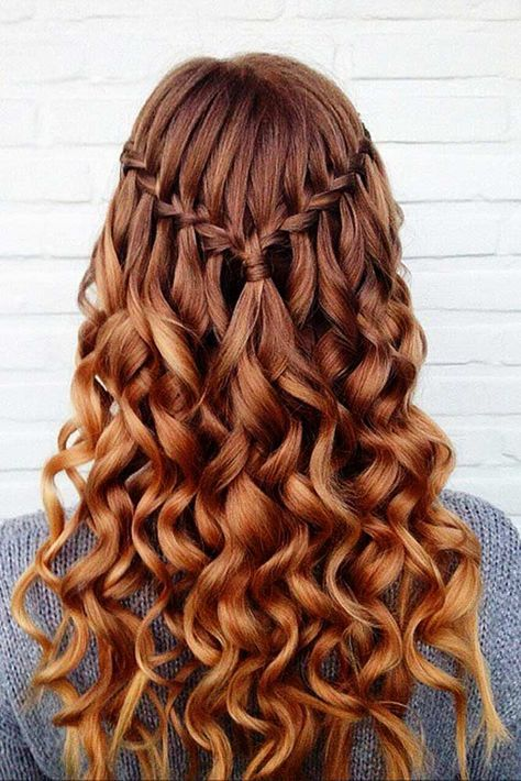 Bright Red Hair With Waterfall Braid And Curls Redhair Homecoming Hairstyles DownHomecoming