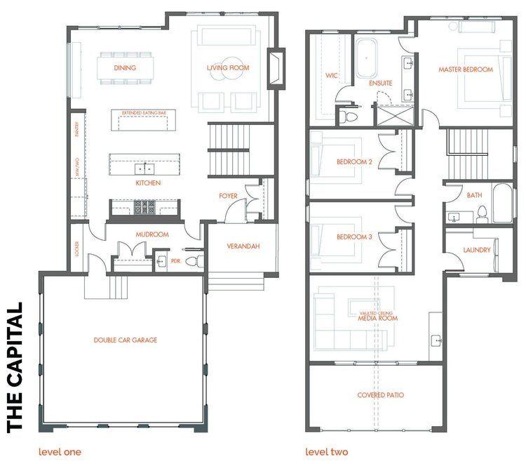 Accent Infills Edmonton S Infill Home Builder Narrow Lot House Plans Small House Design Plans Modern Floor Plans