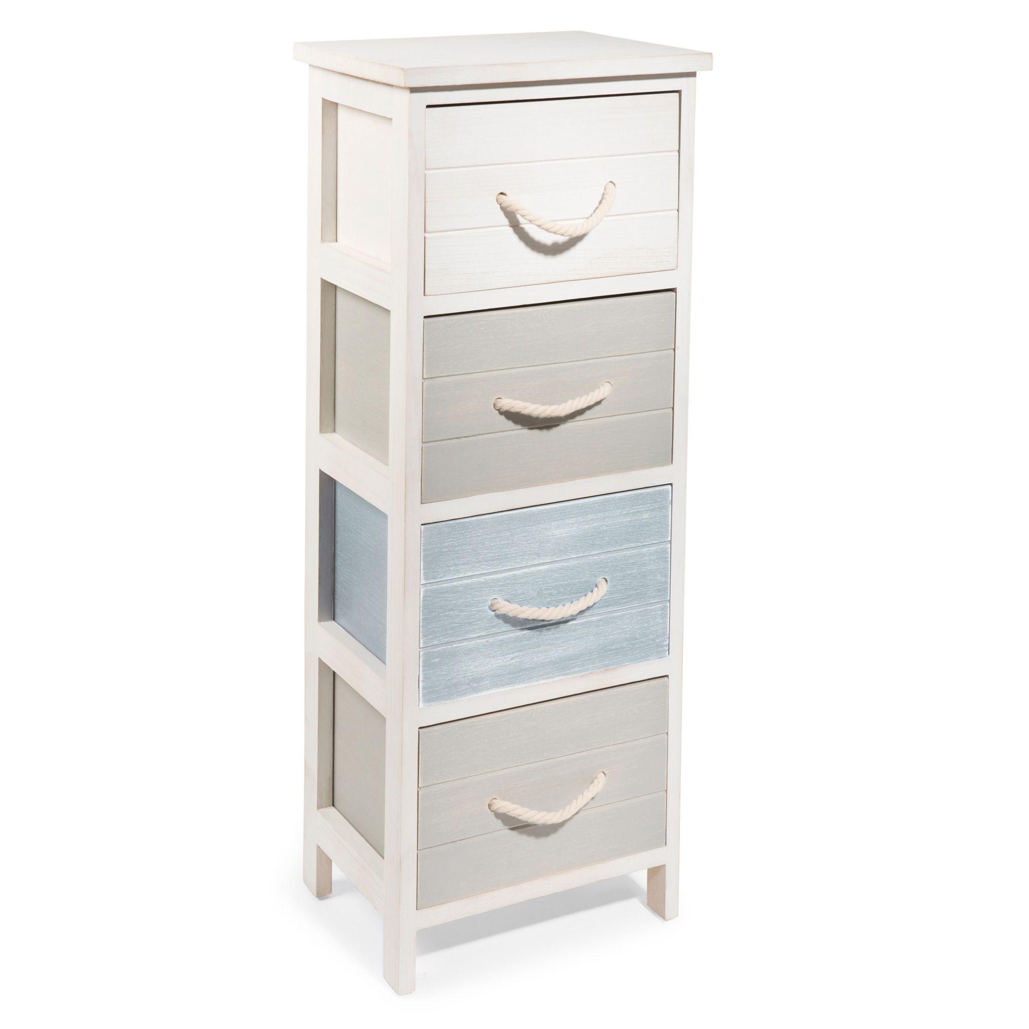 Mueble pequeño con 4 cajones de paulonia blanco | Muebles pequeños ...