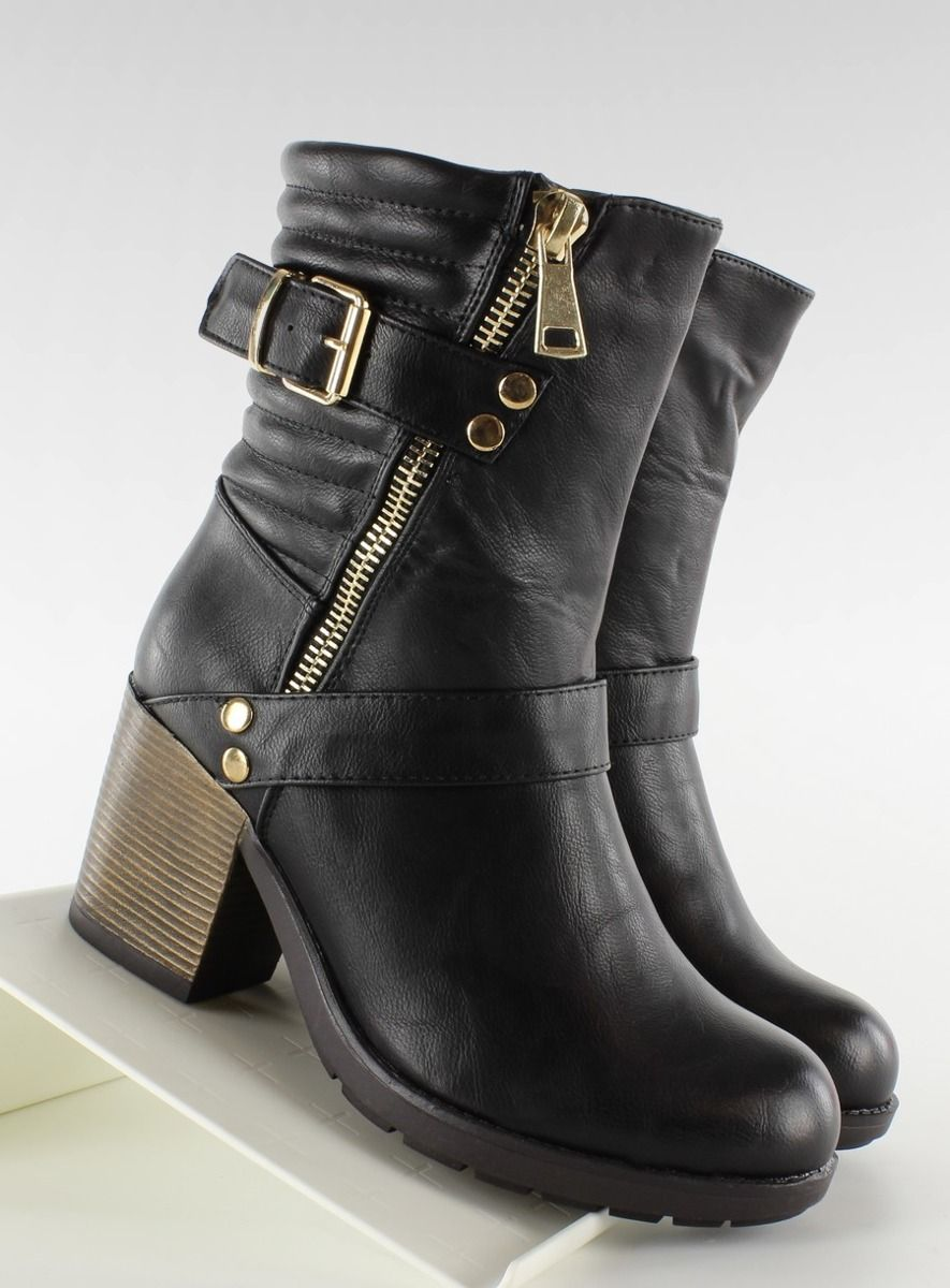 Jesienne Botki Szeroki Obcas Vq6 8 Czarne Biker Boot Boots Shoes
