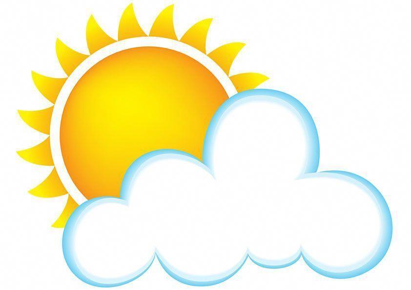Cartoon clouds beach. Sun and cloud clipart