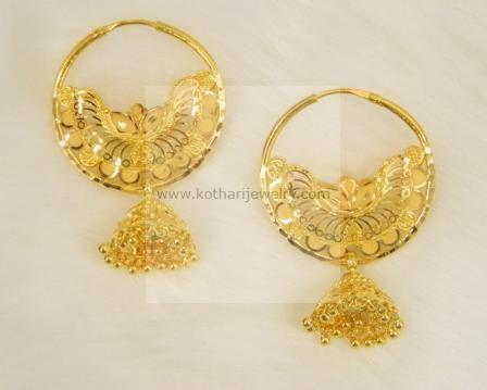 22k Gold Jhumkas Earrings Rings Ear Chains Gold Earrings