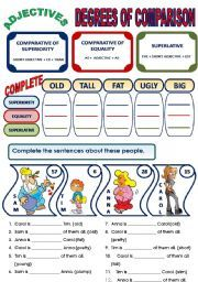english worksheets adjectives degrees of comparison grammar
