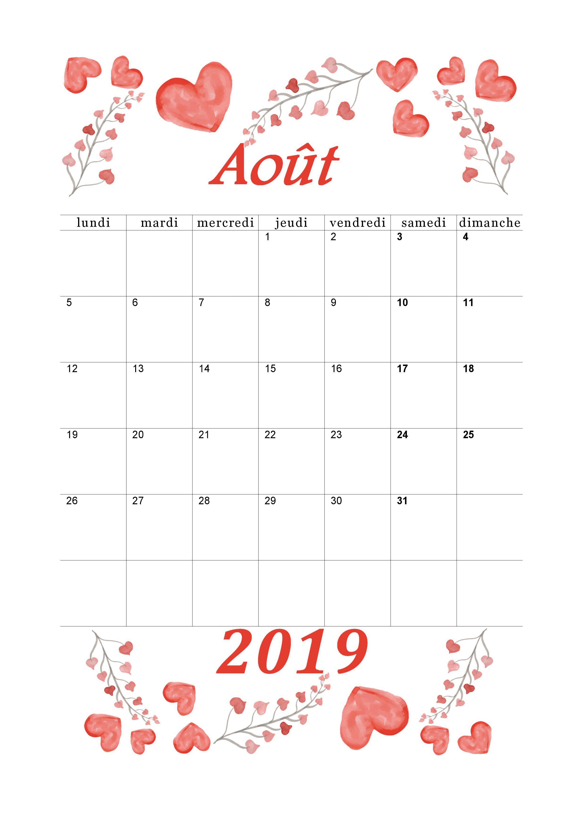 Calendrier 20182019 mensuel à imprimer. Calendrier aout