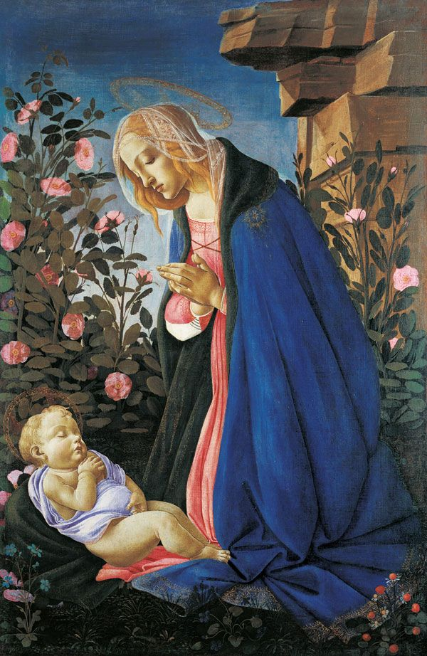 "Sandro Botticelli (1444/45-1510), Adoration of the Christ Child (""Wemyss Madonna""), Canvas, 122 x 80,5 cm, Edinburgh, National Gallery of Scotland, Photo: National Gallery of Scotland, © Sandro Botticelli (Alessandro Filipepi), The Virgin Adoring the Sleeping Christ Child"
