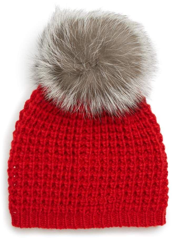 3dc79fb64a782 KYI KYI Genuine Fox Pompom Hat